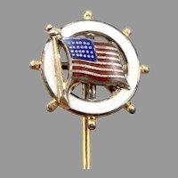 Vintage 800 Silver GP Stickpin Enamel Ships Wheel American Flag Nautical USA