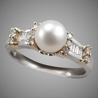 Vintage 14K Gold White Yellow 7mm Cultured PEARL .32tcw Diamond RING 5g Size9.75