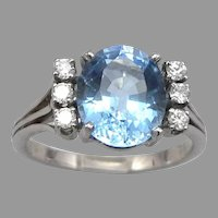 Vintage 18K White GOLD 5.75ct Blue TOPAZ .30tcw DIAMOND Ring 7.1 Grams Size 11