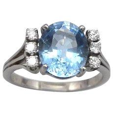 Vintage 18K White GOLD 5.75ct Blue TOPAZ .30tcw DIAMOND Ring 7.1 Grams Size 11