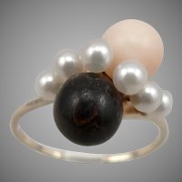 Vintage 14K Yellow GOLD Pink Black CORAL Cultured PEARL Bypass RING 4.6g Size 11