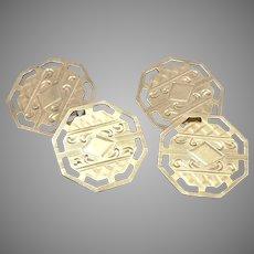 Antique Edwardian 10K Yellow GOLD Engraved Cufflinks Cuff Link Buttons 4.5 Grams