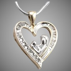 10K GOLD .18tcw Diamond Open Heart Pendant Mother and Child Design 1.8g Vintage