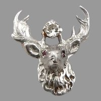 Vintage Antique 14K GOLD ELKS Lodge B.P.O.E. Elk Diamond Ruby Eyes Lapel Pin 1g