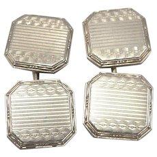 Vintage ART DECO 14K White Gold Cufflinks Cuff Link Buttons Engine Turned 5.5g