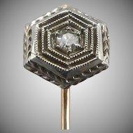 Antique ART DECO Platinum & Diamond 10K Gold Stickpin Stick Pin Edwardian 1.2g