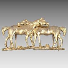 """Vintage MIMI Di N HORSE BELT BUCKLE Stablemates 2 Horses Goldtone for 1.25"""" Belt"""