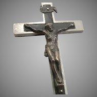"Antique CRUCIFIX Pectoral CROSS Small 4"" Pendant Silvertone & Wood Vintage 36.4g"