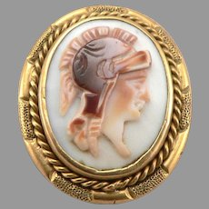 Antique Tri Color Carved Cameo Warrior Yellow 10K Gold Small Pin Brooch