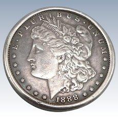 Vintage Starr's Silver Shop Reno Sterling Belt Buckle 1888 Morgan .900 Silver Dollar