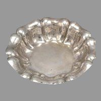 Vintage 800 SILVER Wrought by Hand Hammered Dish Bowl Made in ITALY Hallmarks 7""