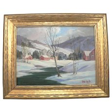 A- PETER KOSTER Oil on Board Winter Landscape PAINTING Listed Artist Signed