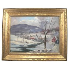 B- PETER KOSTER Oil on Board Winter Landscape PAINTING Listed Artist Signed