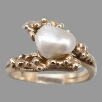 Vintage 14K Yellow GOLD Baroque Pearl Solitaire RING Organic Texture 4.4g Sz5.75