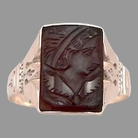 Antique Victorian 14K Rose GOLD Carved Hardstone CAMEO Ring 4.4 Grams Size 11