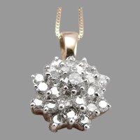 Vintage 10K Yellow GOLD .85tcw DIAMOND Cluster Pendant Box Chain Necklace 3.1g