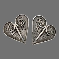 Vintage STERLING Silver Filigree HEART Large Pierced Stud EARRINGS 8.8g Handmade