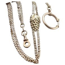 Antique 14K Yellow GOLD Pocket Watch Double Chain Grape Cluster SLIDE Vintage