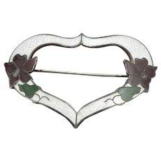 Antique Art Nouveau STERLING Silver Enamel HEART Brooch Pin SUFFRAGETTE Colors