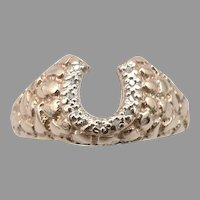 Vintage 10K Gold DIAMOND Horseshoe RING Nugget Texture 3.1g Size 8 Good Luck