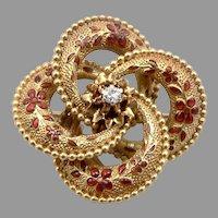 Vintage Antique 14K Gold Enamel Diamond Watch Pin Brooch KREMENTZ 5g Love Knot