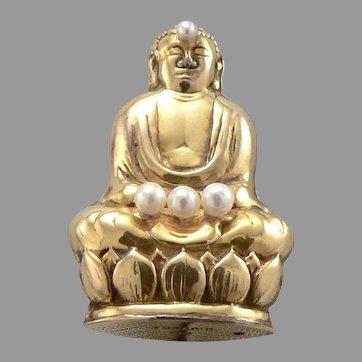 Vintage 14K Gold K. UYEDA Cultured Pearl BUDDHA Pin Brooch Imperial Hotel 5.1g