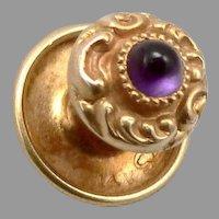 Antique LARTER Victorian 14K GOLD AMETHYST Cabochon Tuxedo Stud Button 0.9g