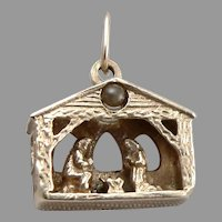 Vintage 14K Yellow GOLD Nativity Manger Charm Pendant Lord's Prayer Stanhope 4g