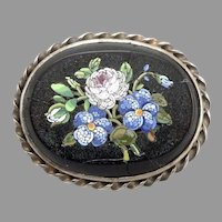 Antique Victorian Micromosaic Floral Inlay Brooch Pin Vintage Micro Mosaic 23.3g