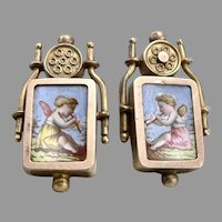 Antique Victorian Enamel Putti Cherub Pierced EARRINGS GF/RGP 14K Gold Posts