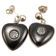 Antique Victorian Black HEART Pyrite Center Fools Gold Earrings 14K Gold Posts