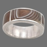 Vintage Silver and Inlaid Banded AGATE Ring Wide 8.3mm Band 8 Grams Size 9.75