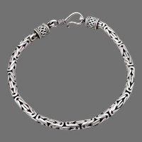"Sterling Silver Byzantine Link Chain 7"" Bracelet 16.8 Grams Handmade Estate"