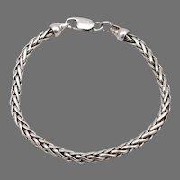 "Sterling Silver Wheat Link Chain 6 7/8"" Bracelet 12.5 Grams Handmade Estate"
