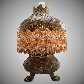Antique c1900 Pierced Brass Moorish Beaded Fringe Round Table Lamp Vintage