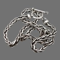"""Heavy Sterling Silver Woven Wheat Link Chain 18"""" Necklace Toggle Catch 44.1g"""