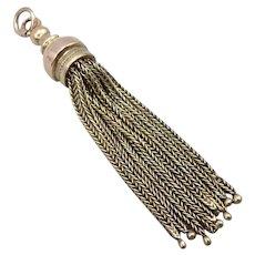 Antique Victorian 14K Yellow GOLD Tassel Dangle Pendant 7.3g Vintage Edwardian