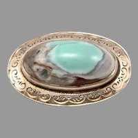Antique Victorian 14K Yellow GOLD Oval Turquoise Cabochon Engraved Brooch Pin