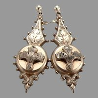 Antique Victorian Gold Filled GF/RGP Dangle EARRINGS Pierced 14K Gold Posts 3.1g
