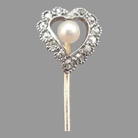 Antique Victorian Pearl OMC Diamond Halo Witches HEART Stickpin 18K Platinum 14K