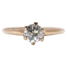 Classic Antique Diamond Ring Engagement Ring Old European Cut Yellow Gold