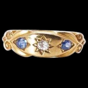 1907 Sapphire And Diamond Ring 18k Yellow Gold English