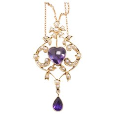 Amethyst Heart Necklace Lavalier
