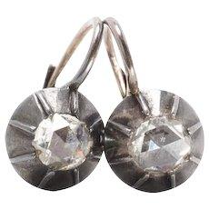 Georgian Rose Cut Diamond Earrings Drop Earrings