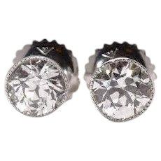 Old European Cut Diamond Stud Earrings