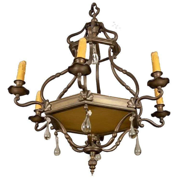 19th century dutch bronze and crystal nine light chandelier