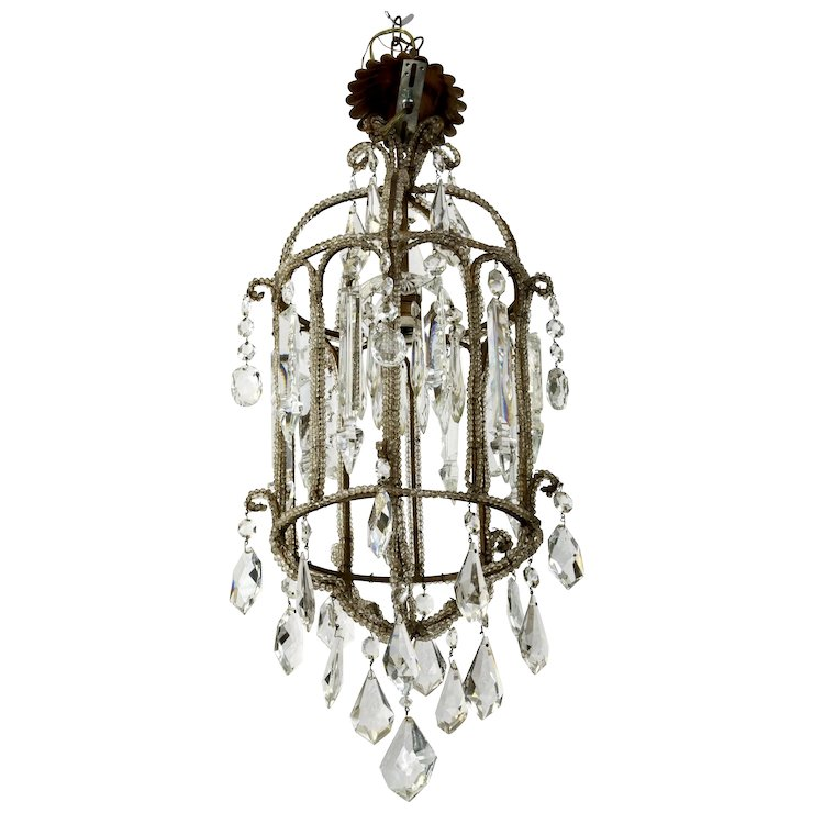 French tiered crystal and beaded lantern style chandelier c 1910