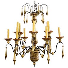Large Italian Twelve-Light Giltwood Chandelier