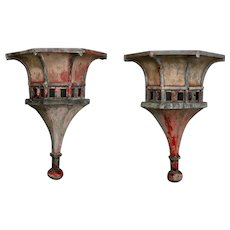19th Century Pair of Large Architectural Zinc Finials with Original Paint