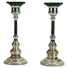 Pair of English Mercury Glass Candlestick Holders With Green Bobeches